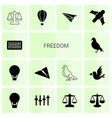 14 freedom icons vector image vector image