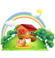 A hen with a basket of egg at the farm vector image vector image