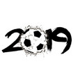 abstract number 2019 and a soccer ball from blots vector image vector image