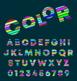 alphabet letters and numbers color design vector image