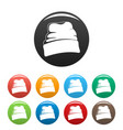 beanie hat icons set color vector image
