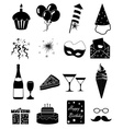 birthday party icons set vector image vector image