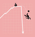 businessman fall down from the chart as the graph vector image vector image