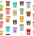 cartoon color cup coffee or tea characters vector image vector image