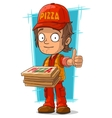 Cartoon young pizza delivery man vector image vector image