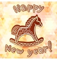 Chocolate horse new year greeting card vector image vector image