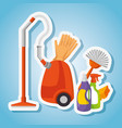 Cleaning supplies with vacuum brush gloves spray