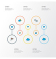 climate icons colored line set with wind vane vector image vector image