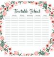 creative school schedule card with flower arch
