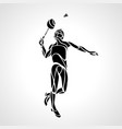 creative silhouette abstract badminton player vector image vector image