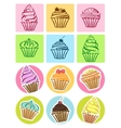 Cupcakes set icons vector image vector image
