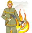 Firefighter with fire hose and axe against a fire vector image vector image