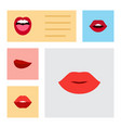 flat icon mouth set of tongue lips kiss and vector image vector image