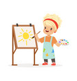 flat of little girl painting vector image vector image