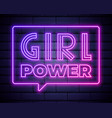girl power badge icon with neon effect on dark vector image vector image