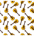 hand-drawn brown classic guitar seamless pattern vector image