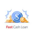 heap coins revenue increase high interest vector image