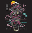 highly detailed dragon with japanese background vector image vector image