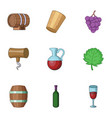 home alcohol icons set cartoon style vector image vector image