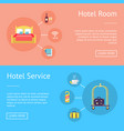hotel room and service set of advertising banners vector image vector image