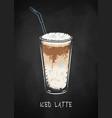 iced mocha coffee cup isolated on black chalkboard vector image