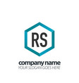 initial letter rs hexagon box creative logo black vector image vector image