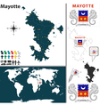 Mayotte map world vector image vector image