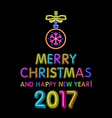 merry Christmas and happy new year 2017 neon light vector image vector image