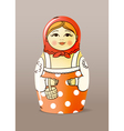 painted varnished wood doll vector image