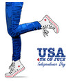 photo realistic woman legs usa style vector image vector image