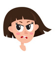 pretty brown hair woman angry facial expression vector image