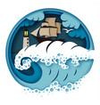 sailboat and raging sea in vector image