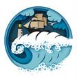 sailboat and raging sea vector image vector image