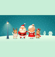 santa claus his wife mrs claus and reindeer vector image
