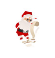 santa claus studying list of christmas presents vector image vector image