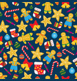 seamless christmas pattern with gingerbread vector image vector image