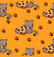 seamless pattern a cute gray kitty eating pizza vector image vector image