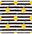 seamless pattern lemon isolated on striped black vector image vector image