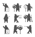 Set Bear Hunters vector image vector image