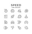 set line icons speed vector image vector image