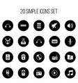 set of 20 editable mp3 icons includes symbols vector image vector image
