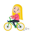 smiling little girl riding on bicycle vector image vector image