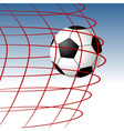 soccer ball entering the goal and hitting the net vector image vector image