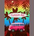summer journey on a pink van image vector image vector image