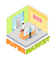 supermarket fish department isometric vector image