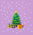 the decorated christmas tree with the presents vector image vector image