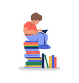 young kid reading book cartoon concept isolated vector image