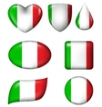 Italian flag in various shape glossy button vector image