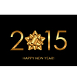 2015 Happy New Year background with gold bow vector image