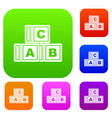 abc cubes set color collection vector image vector image